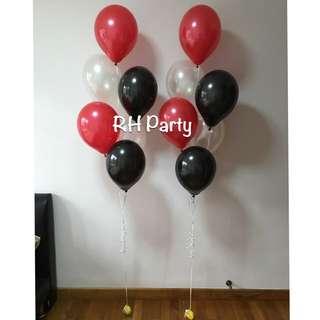 (1/5) Helium Latex balloon Bouquet ( Red Black White Theme )