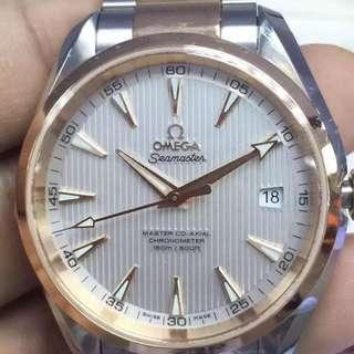 🚚 原裝正品 歐米家 Omega 兩年全球聯保,海馬系列白色錶盤18K玫瑰金 機械錶 #我有手錶要賣
