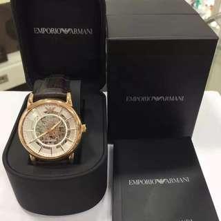 🚚 原裝正貨Emporio Armani 阿瑪尼 2016最新款44mm雙透底鏤空自動機械表,棕色壓紋表帶襯玫瑰金表殻,散發男士斯文的魅力,兩年全球保修 #我有手錶要賣