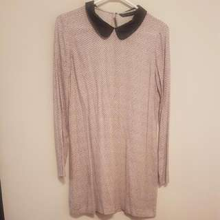 **REDUCED PRICE** Zara Patterned Dress With Leather Collar