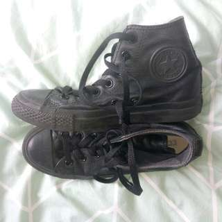 Black Leather High Top Converse Shoes