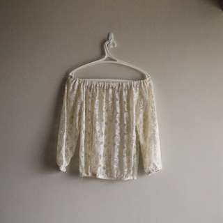 Lacey Off-shoulder Blouse - French Vanilla
