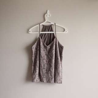 Lacey Grey String Halter Top
