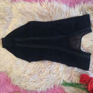 Deep Plunge Mesh Bodysuit In Black