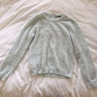 pale blue fuzzy sweater