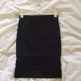black pencil skirt with sheer panels