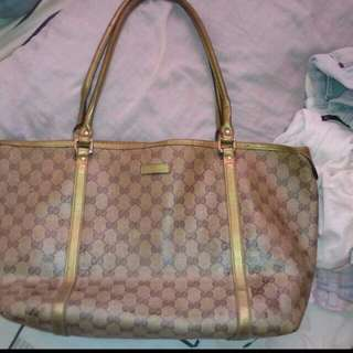Authentic Gucci Neverfull Shinny Gold