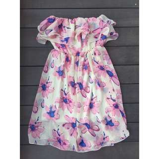 WMGD Floral Tube Dress with Ruffles