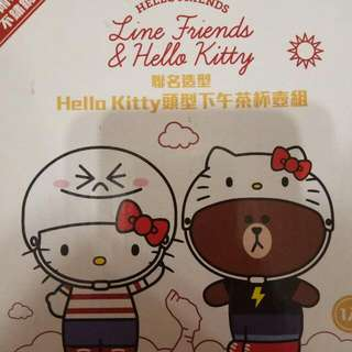 Line X Hello Kitty聯名Kitty頭型下午茶杯壺組