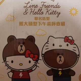 Line X Hello Kitty聯名熊大頭型下午茶杯壺組