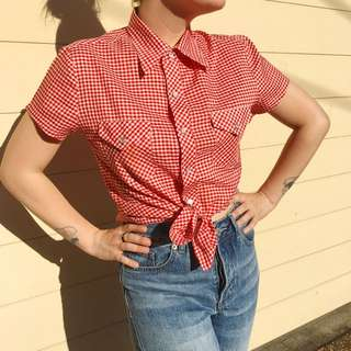 Vintage Pinup Style Gingham Short Sleeve Button Up Shirt Size 8