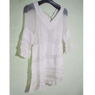 broken white transparent dress