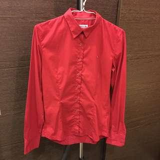 💕LACOSTE 紅色襯衫 有彈性 9成9新💕