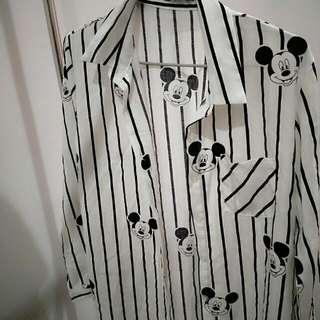 可愛米奇長板襯衫♥