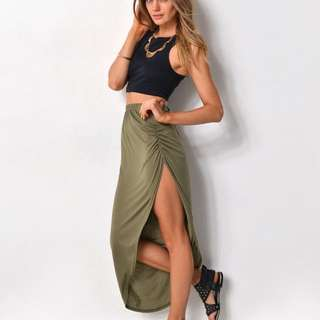 Supré Gathered Side Maxi Skirt