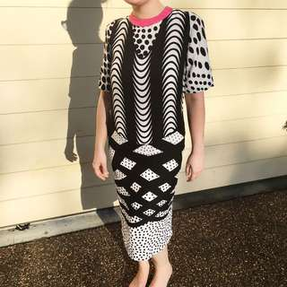 80s Style Graphic Smock Dress By ASOS size 8