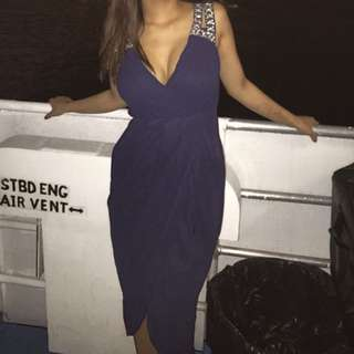 Diamonte Navy Formal Dress