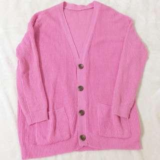 桃紅色 針織外套