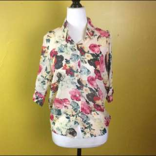 Floral Blouse Top Size Small