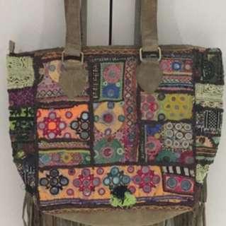 Indian Antique Large Handbag All Suede