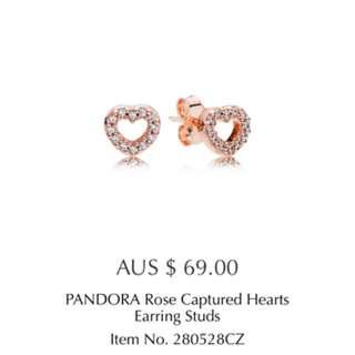 Pandora Rose Gold Heart Earings