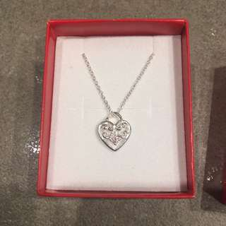 Prouds silver heart necklace