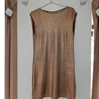 Gold Open Back Dress (PAINT IT RED Brand)