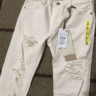 PULL & BEAR Ripped White Jeans