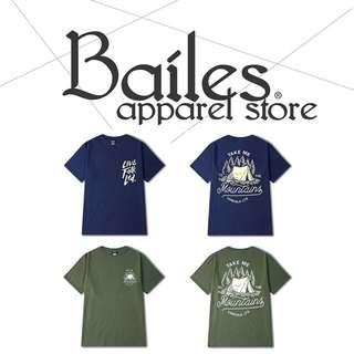 貝里斯Bailes【AS005】日韓版 / 男女款 日韓款帳篷圖案字母搭配印花設計棉質圓領短袖T恤