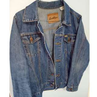 LEVI STRAUSS Vintage 90's Retro GRUNGE PUNK Blue Denim Jean Jacket Coat Size 12