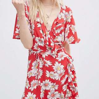 ASOS Mini Tea Dress With Front Wrap in Daisy Print