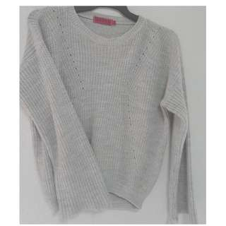 Boohoo Oversized Fishermans Jumper Grey Marle Size Small