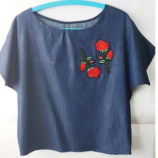 Denim Top With Rose Patch