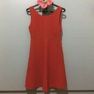 Red Babydoll Dress With Back Ribbon Detail