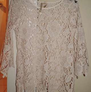 Forgotten Grace Lace Blouse Floral Large Cream Brand New