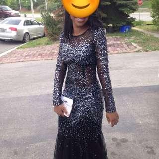 Black Long Sleeve Sequence/mesh Prom Dress