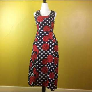 Marine Blue Vintage Polka Dotted Dress Cocktail Dress Size Small