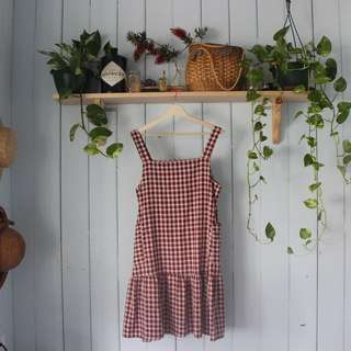 Maroon Gingham Dress