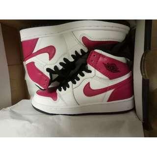 Air Jordan 1 AJ1玫紅 情侶板鞋 白粉9孔