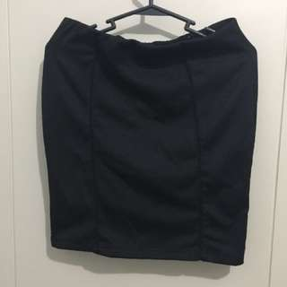 Memo Black Pencil Cut Skirt
