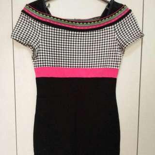 Bcbg Maxazria Checkered Offshoulder Dress