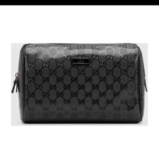 GUCCI BLACK LARGE GG IMPRINT TOILETRY CASE