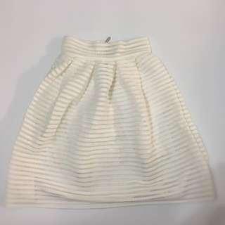 High Waist White Skirt