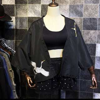 日系和服仙鶴浴衣罩衫外套