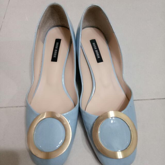 正韓林鴒款水藍鐵片鞋24.5