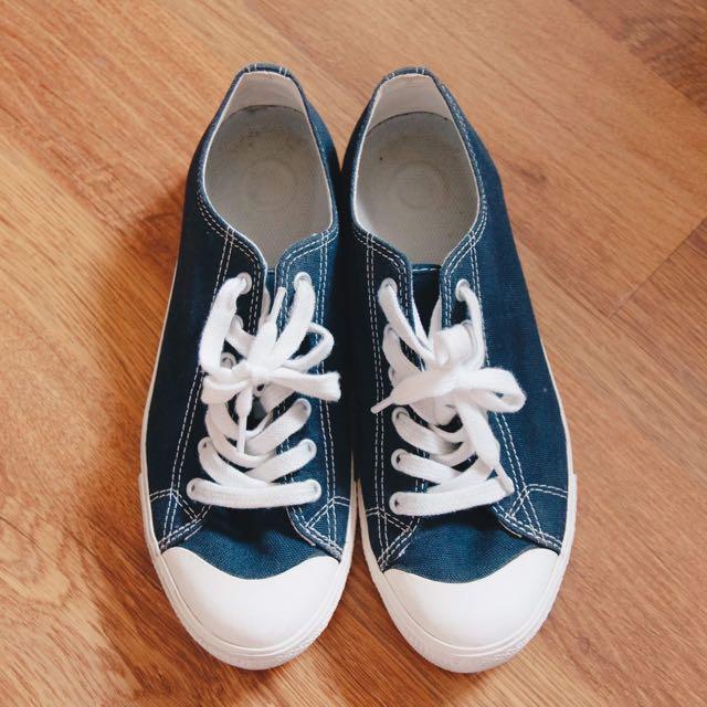 無印良品棉水洗潑水加工休閒鞋25.5 深藍