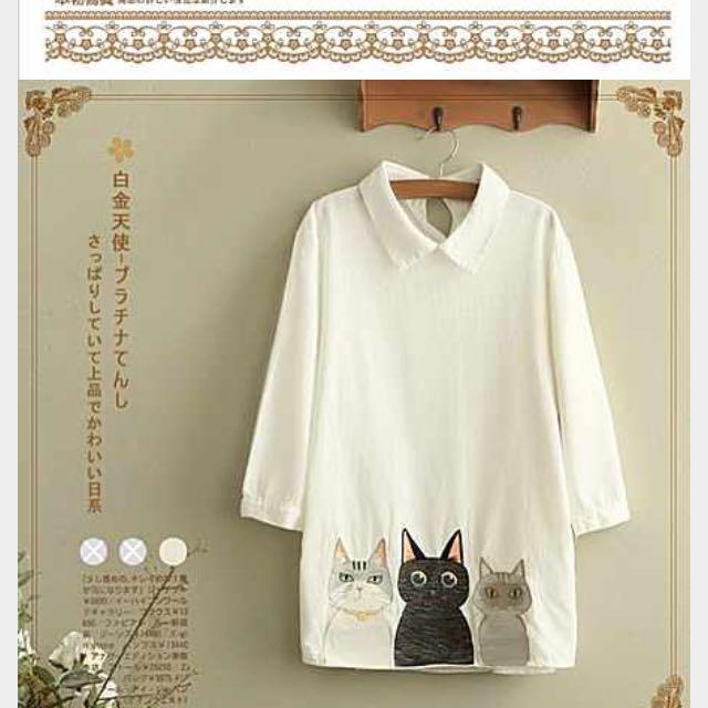 森女日系部落學院風高中學生七分袖猫咪襯衫春装少女寬鬆棉麻襯衣