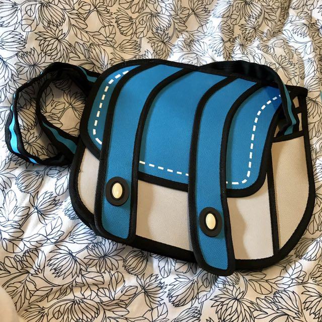 二維創意藍色斜背側背包