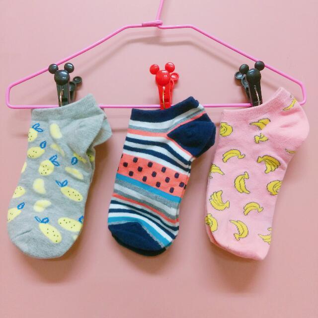 [全新] 三雙只要60元!水果條紋船型襪/短襪 (檸檬/香蕉/條紋)