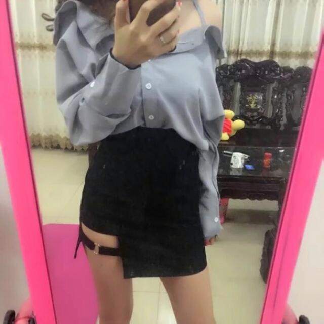 韓 歐美簍空 性感高腰短裙